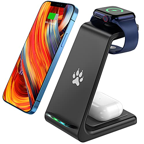 TEMINICE 3 in 1Wireless Charging Station for Apple Watch & AirPods, Wireless Charger Compatible with...