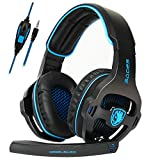 SA810 Xbox One Gaming Headset for PS4, Xbox One, PC with Surround Sound, Noise Cancelling Mic, Mute & Volume Control, Zero Ear Pressure & Durable Frame, Soft Memory(Black)