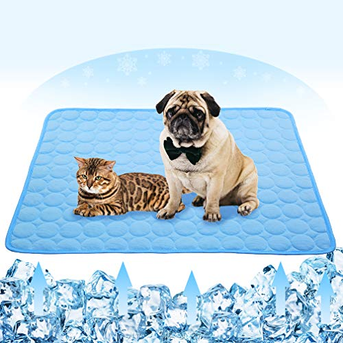 Summer Cooling Mat for Dogs Cats Ice Silk Self Dog Cooling Mat Breathable Pet Crate Pad Portable & Washable Pet Cooling Blanket for Outdoor or Home (28 X 22in, Blue)