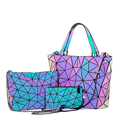 Geometric Luminous Purses and Handbags for Women Holographic Reflective Crossbody Bag Wallet 3PCS