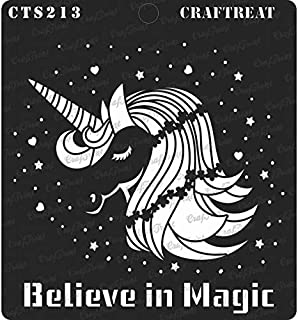 CrafTreat Stencil - Believe in Magic - Reusable Painting Template for Journal, Home Decor, Crafting, DIY Albums, Scrapbook and Printing on Paper, Floor, Wall, Tile, Fabric, Wood 6x6 inches