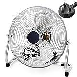 YYM Ventilador de Piso de Alta Velocidad de 12 Pulgadas, Ventilador de Piso de Gimnasio con Cabezal de Ventilador Ajustable de 3 velocidades, Ventilador de pie Cromado con circulador de Aire para Uso