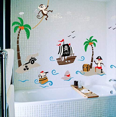 Stickers Muraux Cheeky Singe Arbre De Noix De Coco Salle De Bain Enfants Bébé Chambre De Bébé Decor Décorations Pour La Maison Diy Pvc Stickers Muraux D'Art, 166 * 93 Cm