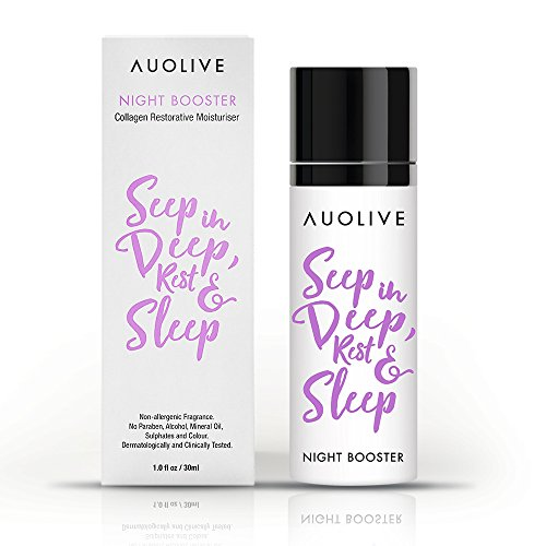 Auolive Anti Aging Marine Collagen Night Cream For Women. Award Winning Water Based Facial Moisturizer For Plumping, Smoothing & Reducing Lines For Normal, Combination, Dry, Oily or Sensitive Skin.