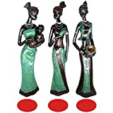 Mary Paxton 3 Pack African Statues Figurines, 7.5' African Woman Sculpture Girl Polyresin Exotic Tribal Lady Figurine Statue Decor Collection Statue Home House Collectible Art Craft Gift Vintage