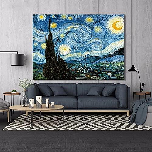 Carteles E Impresiones De La Noche Estrellada De Van Gogh Cuadro sobre Lienzo para Pared Cuadros De Pintura Famosa para La Decoración...