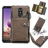Dmtrab Phone Case para LG Estuche de Billetera Stylo 4, a Prueba de Golpes. PC + TPU Funda Protectora con Ranuras para Tarjeta y Marco de Fotos y cordón Tapa de Paquetes (Color : Dark Brown)
