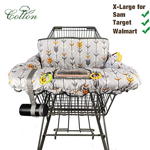 Shopping Cart Cover for Baby Cotton High Chair Cover Full Safety Harness, Machine Washable for Infant, Toddler, Boy or Girl Large (Color Arrow Print) …