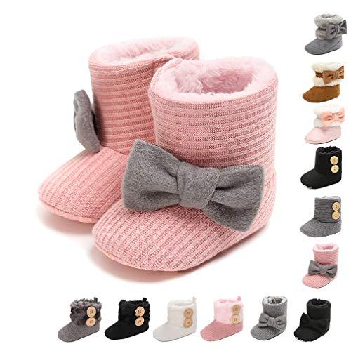 Infant Boots Winter Warm Baby Girl Shoes Toddler Soft Sole Anti-Slip Snow Prewalker Newborn Baby Boy Boots(12-18 Months Infant,4-pink)