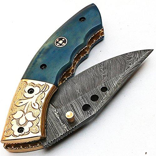 ANNA 8840 Coltello pieghevole Personalizzato a mano Coltello in acciaio damascato garantisce qualità Damasco Coltello con fodero in pelle di alta qualità