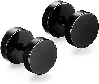Niome Men Women 8MM Stainless Steel Barbell Stud Earrings Ear Piercing Plugs Tunnel Punk Style (Black)