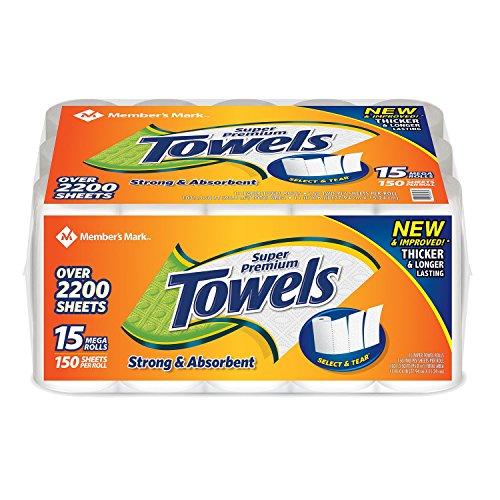 Member's Mark Super Premium Paper Towels, 15 Rolls, 150 Sheets per roll