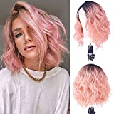 X-TRESS Bob Ombre Pink Lace Front Wig Natural Wavy Black Rooted Mixed Pastel Rose Pink Wigs Side Part Synthetic Heat Resistant Curly Hair for Women 12 Inch Peachy Hair Replacement Wigs Costume Wigs