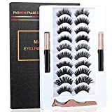 2021 Upgrade 3D Natural Magnetic Eyelashes,Lightweight Magnetic Eyeliner and Eyelashes Kit, 2 Waterproof Magnetic Eyeliners- No Glue Needed (10 Pairs) (Black)