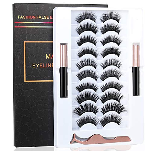 BILEYCHA 2021 Upgrade 3D Natural Magnetic Eyelashes,Lightweight Magnetic Eyeliner and Eyelashes Kit, 2 Waterproof Magnetic Eyeliners- No Glue Needed (10 Pairs) (Black)