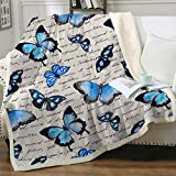 Sleepwish Butterfly Blankets Fuzzy Throws Vintage Blue Butterflies Throw Blanket for Adults Women Teen Girls Retro Sherpa Fleece Plush Blanket for Bed Couch Sofa (50'x60')