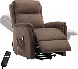 Bonzy Home Electric Power Lift Recliner Chair Sofa for Elderly, Living Room Chair with Overstuffed Design, Power Lift Chair with Safety Motion Reclining Mechanism,(Chocolate)