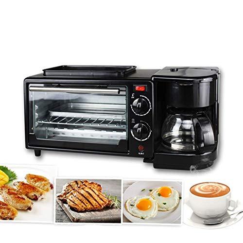 KAUTO Four à Convection de comptoir, Comprend Une Plaque de Cuisson, Une Grille de Grillage en Acier Inoxydable, Une Machine à Petit-déjeuner électrique 3 en 1, Une cafetière à la Maison