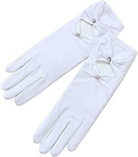 ZAZA BRIDAL Shiny Satin/4 Way Matte Satin Gloves w/Diamond shape & Cubic Accent