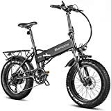 Eahora X5 750W Folding Fat Tire Electric Bicycle 48V Commuter Electric Bike for Adults Full Suspension, Power Regeneration, Electric Lock, 7 Speed Gears