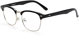 Cyxus Blue Light Glasses,UV Filter Blue Light Blocking Computer Reading Glasses for Women Men Retro Half Frame Eyeglasses (Semi-Rimless,Black)