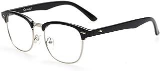 Cyxus Blue Light Glasses,UV Filter Blue Light Blocking Computer Reading Glasses for Women Men Retro Half Frame Eyeglasses (Semi-Rimless,Black)