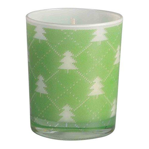 Bougie de Noël. Bougie en verre d'arbre de Noël. Bougie en cire dans un verre. Ce bougeoir est un verre avec des arbres verts de Noël, sapins et rennes de Noël, rouge, ou de Noël dans les frises d'or. La bougie est faite de cire. Mesures de verre arbre de Noël, 7,5 x 9 cm de hauteur bougie. (vert)