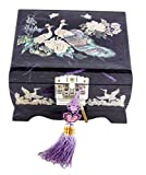 Fun-Store Nacre Inlay Mother of Pearl Music Jewellery Storage Chest Wooden Box Peacock Design Jewelry Mirror Box Keepsake Treasure Gift Box Trinket Case Organizer (Purple)