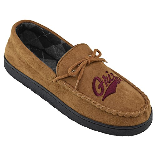 College Edition NCAA Montana Grizzlies Men's Moccasin Team Logo Slippers, Size 13, Chestnut