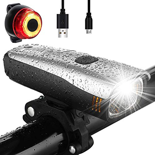 Antimi Fahrradlicht Led Set, LED Fahrradbeleuchtung mit 2 Licht-Modi, Frontlicht und Rücklicht/Rotlicht, IPX5 Regen- und stoßfest Fahrrad Licht 2600mAh