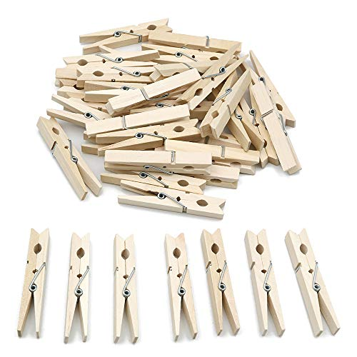 jijAcraft Wooden Clothespins 100 Pcs,Wooden Clips 2.8 x 0.5 inches,Clothespins Bulk Laundry Pins for Hanging Clothing,Home Storage,DIY Project