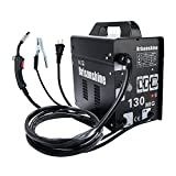 Electric MIG 130 Welder-Automatic Arc Wire Welding Machine Gasless Miller Flux Core Wire Feeding Portable 110V with Mask Brush,Black