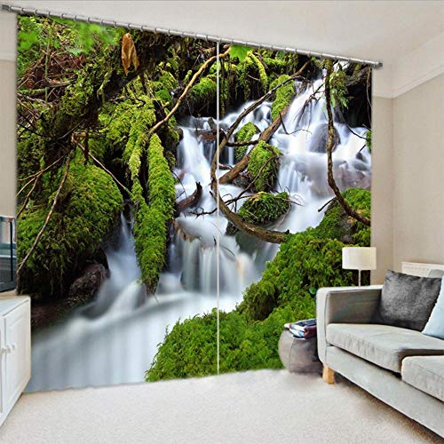 Nonebranded Blackout Curtain For Bedroom Room Thermal Insulated Curtain - Stream Green Plantsh215 X W220 Cm