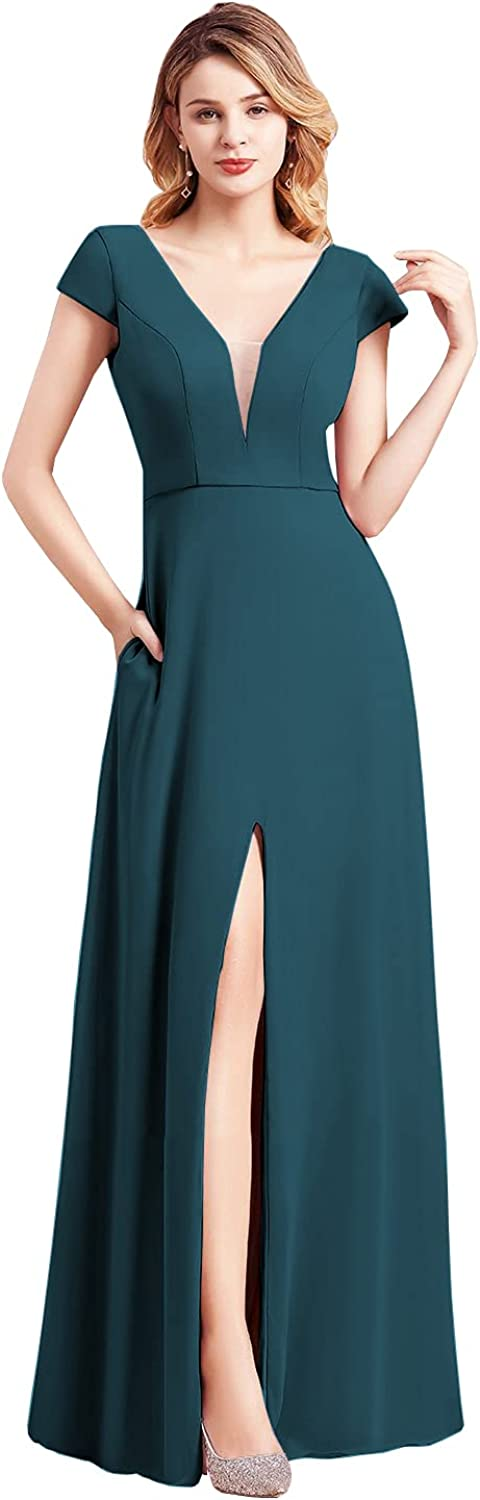VCCICANY V Neck Chiffon A-Line Bridesmaid Dress for Women Cap Sleeves Slit Formal Gown with Pockets