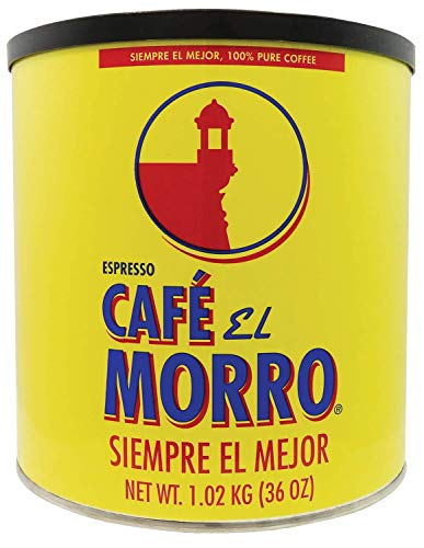 Premium Ground Coffee from Café El Morro - Gourmet Dark Roast Espresso Coffee, Pure Ground Coffee, 2 lb Can (36 oz)