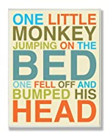 The Kids Room by Stupell One Little Monkey Jumping on the Bed Rectangle Wall Plaque by The Kids Room by Stupell