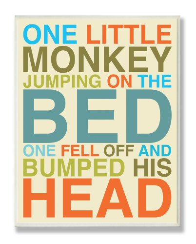 The Kids Room by Stupell One Little Monkey Jumping On The Bed Rectangle Wall Plaque, 11 x 0.5 x 15, Proudly Made in USA