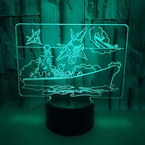 LiHiFG 7 colores LED Touch lámpara Avión de barco Luz de Noche de LED 3D Regalos de Vacaciones y Cumpleaños para Niños, Niñas y Adultos
