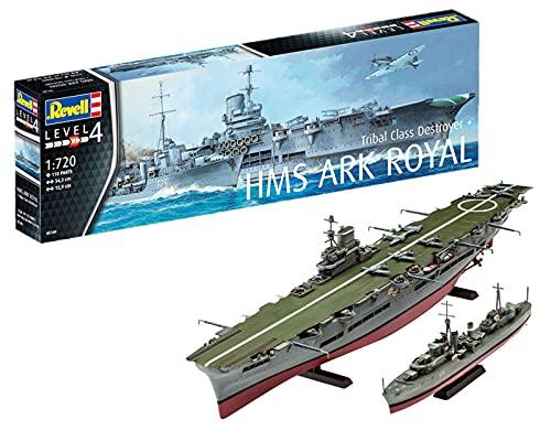 Revell Maqueta de HMS Ark Royal & Tribal Class Destroyer, Kit Modello, Escala 1:720 (5149) (05149), Royal: 34,3 cm 15,9 cm de Largo