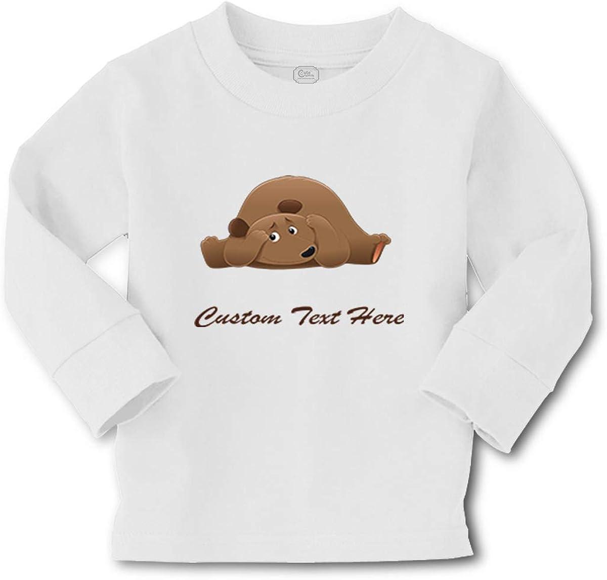 Kids Long Sleeve T Shirt Bear Brown Hiding Animals Funny Humor Cotton