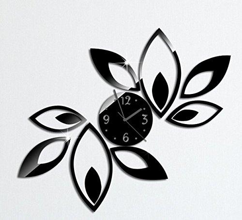 SHINA Gardez Promotion Fleur Horloge murale Design moderne luxe Horloges Miroir 3D Crystal miroir mural (noir)