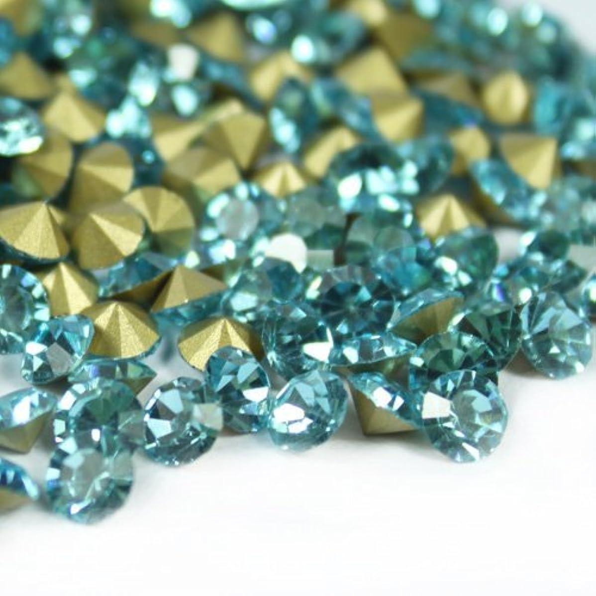 中性低下浸透するガラス製 Vカットストーン(埋込型)アクアマリン 各サイズ選択可能 (4.0mm (SS16) 約1440粒) [並行輸入品]