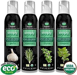 Simply Beyond, Organic Spray-On Herbs 4-Pack (Garlic, Rosemary, Thyme, Oregano), 3 Fl. Oz