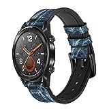 Innovedesire Light Blue Marble Stone Graphic Printed Correa de Reloj Inteligente de Cuero y Silicona para Wristwatch Smartwatch Smart Watch Tamaño (20mm)