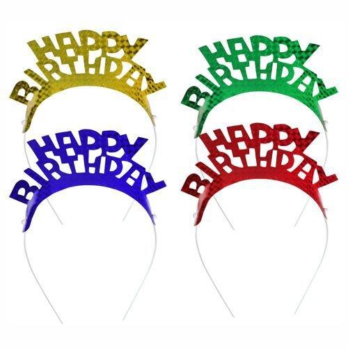 """Haarreifen / Haarschmuck """"HAPPY BIRTHDAY"""" (farbig sortiert / 4 Stück)"""