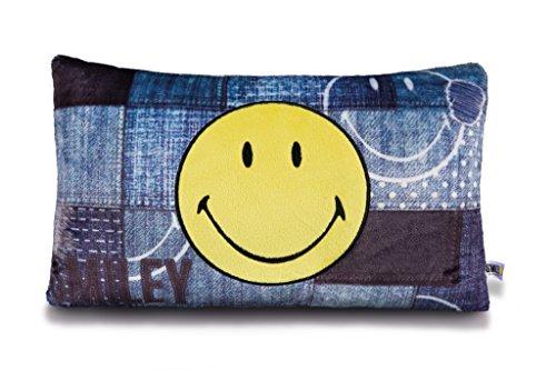 NICI Kissen Smiley C/Wandleuchten, rechteckig, 43x 25cm, Farbe Denim (41530)