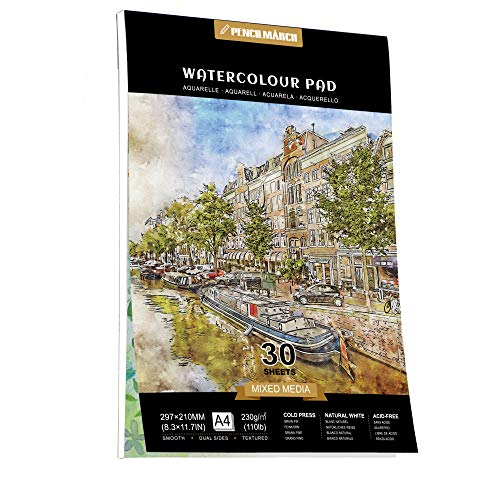 Watercolour Papier A4 30 Seiten für Aquarell Zeichnungen,kalt gepresster 230gsm Watercolour Zeichenblock, perfekt für Aquarelltechniken & Skizzen-PENCILMARCH