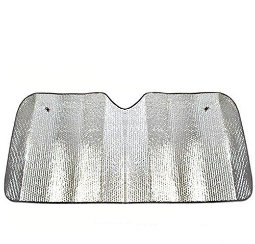 CAOLATOR KFZ Doppelseitiges Aluminiumfolie Sonnenschutz mit Saugnapf Windschutz Sonnenschutz für Autoscheiben Faltbare 140 x 70cm