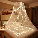 Skyteelor Mosquito Net for Bed,Dream Bedspread with 100 Led Lights, Beautiful Bed Canopy for Children, Girls, and Adults, 1 Entry,for Single to King Size Bed Curtain,Pure White