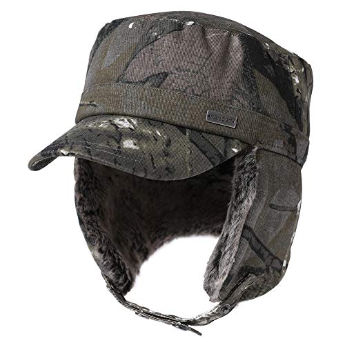 Jeff & Aimy Mens Winter Trapper Elmer Fudd Camo Camoflauge Camouflage Military Baseball Cap with Faux Fur Ear Flaps Snow Hunting Ski Cold Weather Hat for Women Green 58-60CM